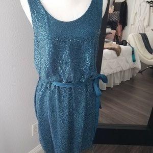 Teal V-back glitter dress with removable belt